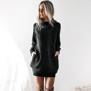 Sweaters - Cozy Cowl Neck Chunky Knit Sweater Dress Black